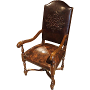 Embossed Leather Walnut Wood Arm Chair from France