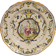 Hand Painted French Faience 18th Century Reproduction Plate, Mid 1900s