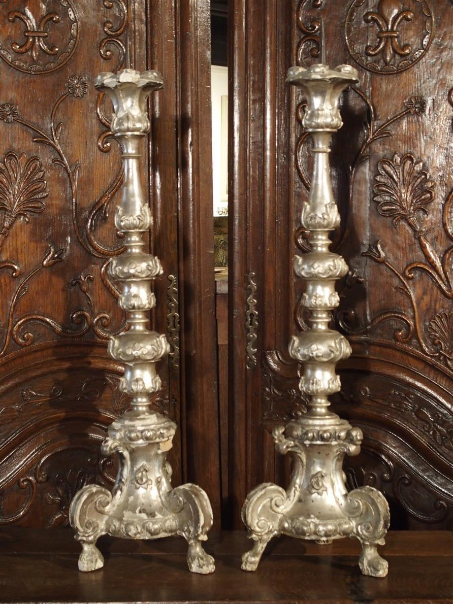 A Pair of Rare 18th Century Silverleaf Candlesticks