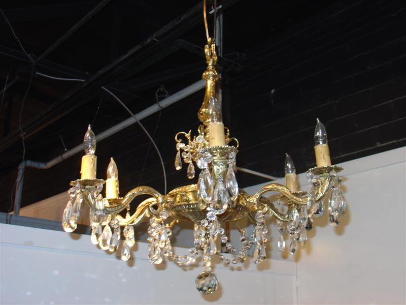 Nicely Detailed Six Light Bronze and Crystal Chandelier from Belgium (US WIRED)