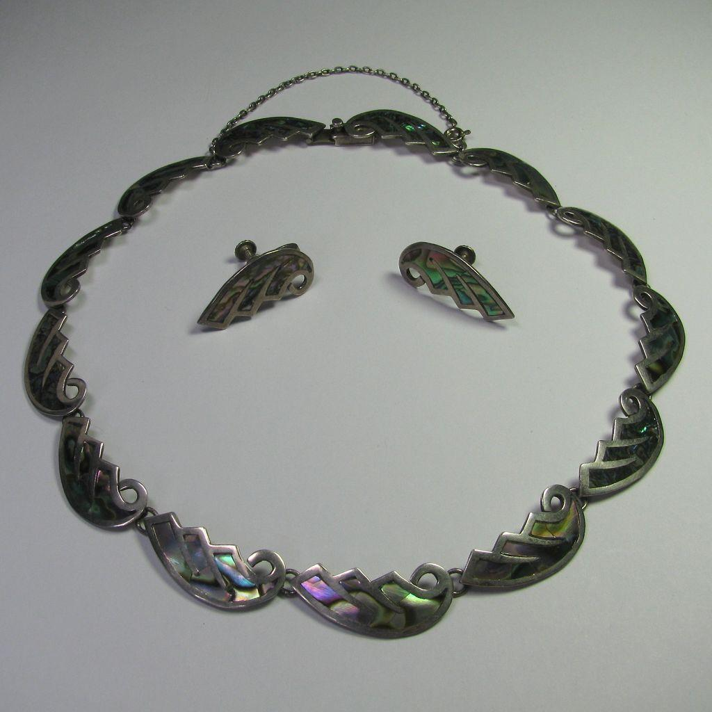 Vintage Sterling Silver Taxco Mexico Abalone Inlay Necklace & Earring Set