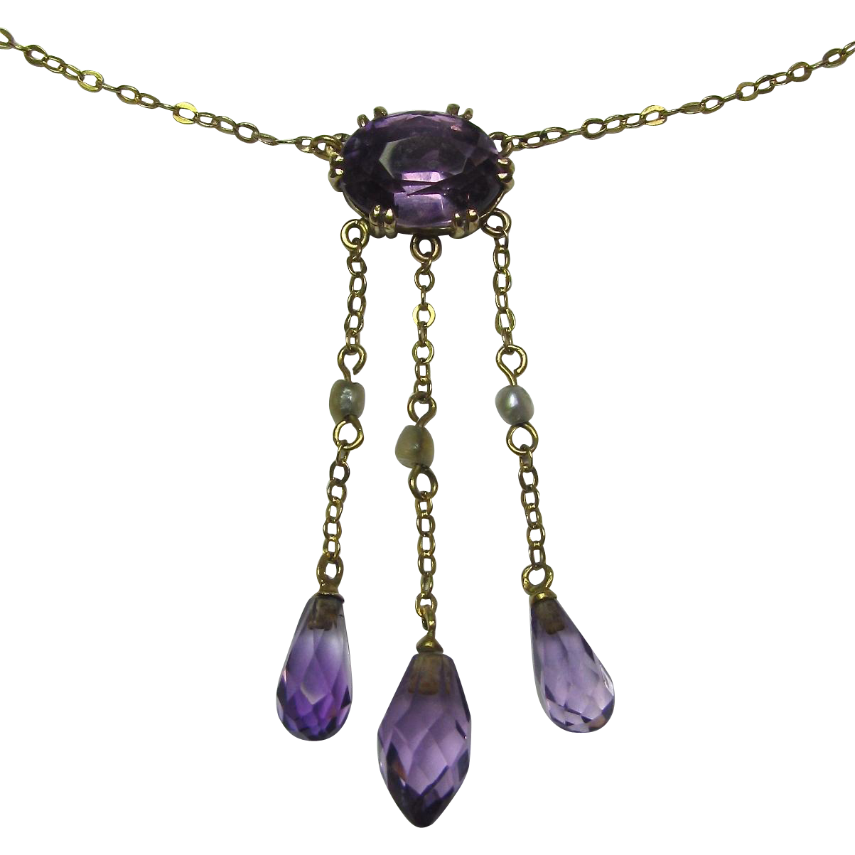 Antique Edwardian 10K Gold Amethyst & Seed Pearl Negligee Lavaliere Pendant Necklace