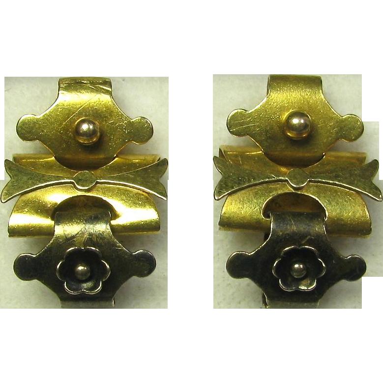 Antique Victorian 10K 14K Gold Book Chain Bookchain Earrings
