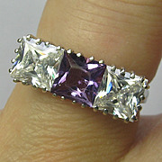 Vintage Retro 14K White Gold Amethyst Dinner Ring