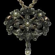 Vintage Retro Victorian Revival 14K Gold & Silver Rose Cut Diamond & Pearl Brooch Pendant