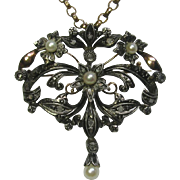 Vintage Retro Victorian Revival 14K Gold & Silver Rose Cut Diamond & Pearl Brooch Pendant
