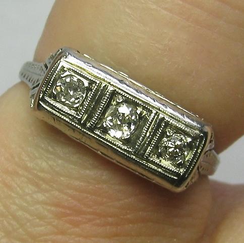 Vintage Art Deco Etched 18K White Gold 3 Diamond Ring
