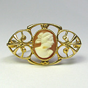 Antique Edwardian 10K Gold Shell Cameo Brooch Pin