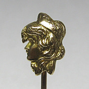 Vintage 14K Yellow Gold Art Nouveau Byzantine Woman/Lady Stick Pin