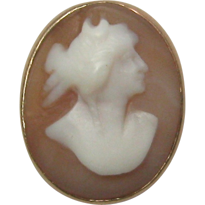 Antique Edwardian 14K Gold Goddess Diana Cameo Stick Pin