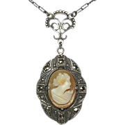 Antique Art Deco Sterling Silver Marcasite & Shell Cameo Pendant Necklace