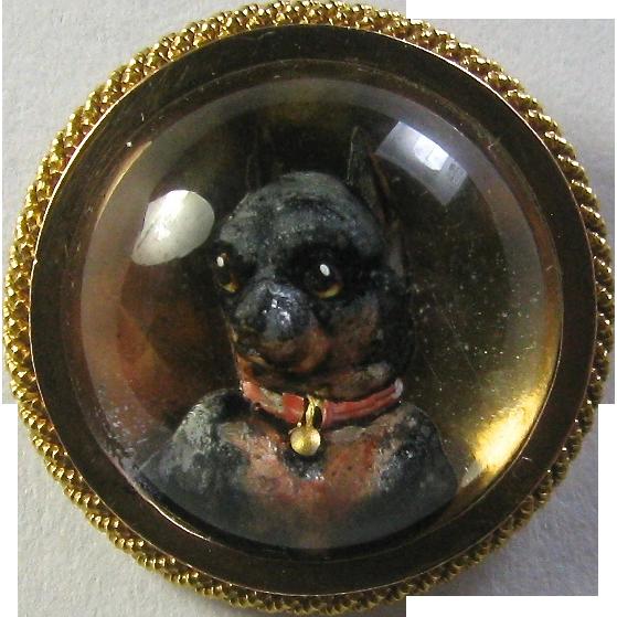 Antique Victorian 18K Gold Miniature Doberman Pincher Essex Crystal Stick Pin
