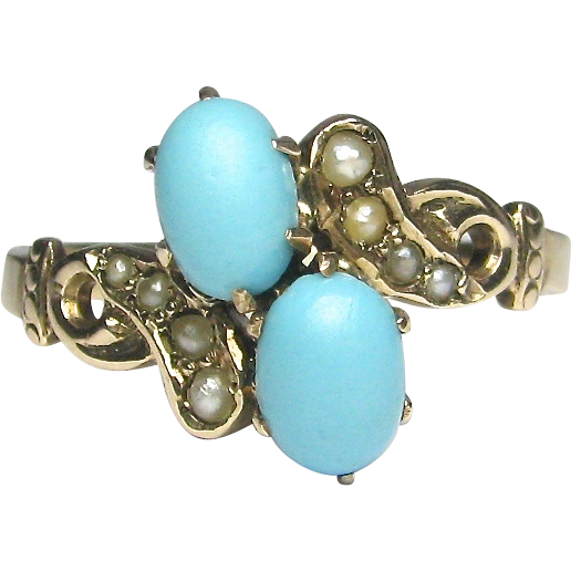 Antique Victorian 10K Gold Seed Pearl & Turquoise Ring