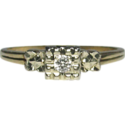 Vintage Art Deco 14K White & Yellow Gold Diamond Solitaire Ring