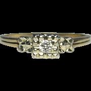Vintage Art Deco 14K White & Yellow Gold Diamond Solitaire Ring