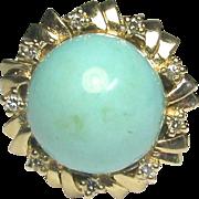 Vintage Retro 14K Gold Turquoise & Diamond Cocktail Ring