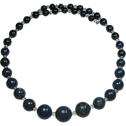 Vintage Art Deco Sodalite & Crystal Graduated Bead Necklace