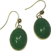 Vintage Art Deco 14K Gold Carved Jade Jadeite Scarab Earrings