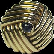 Vintage Retro 14K Gold Sapphire Domed Dinner Ring