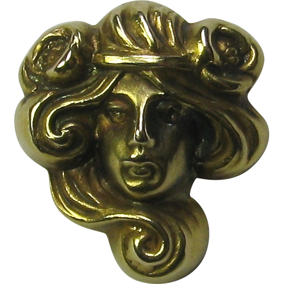 Antique Art Nouveau 14K Gold Link & Angell Mucha Maiden Stick Pin