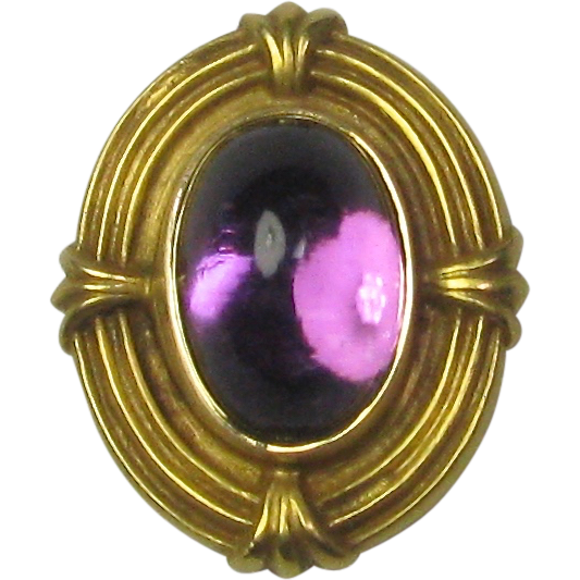 Antique Edwardian 14K Gold Amethyst Stick Pin