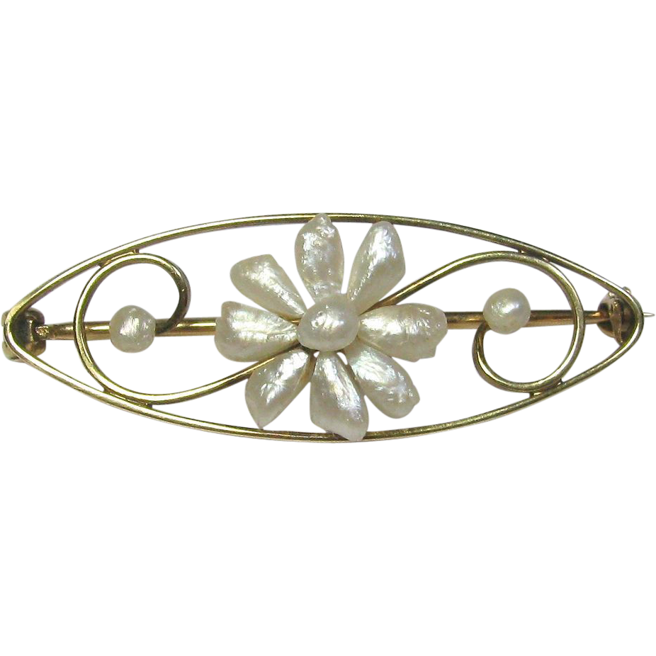 Antique Art Nouveau 14K Gold River Pearl Flower Brooch