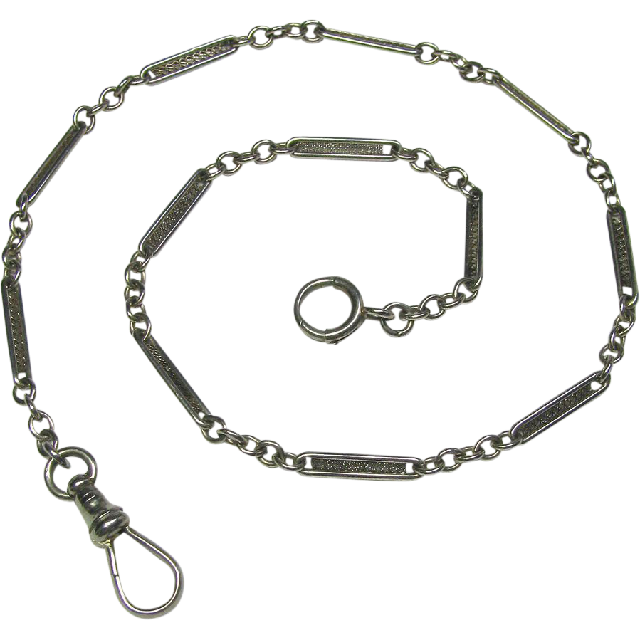 Antique Art Deco 14K White Gold Filigree Watch Chain