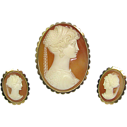 Vintage Art Deco 18K Gold Shell Cameo Renaissance Revival Brooch/Pendant & Earring Set