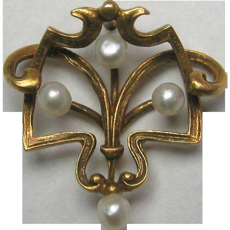 Antique Art Nouveau 14K Gold Seed Pearl Stick Pin