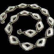 Vintage Retro 1950's Sterling Silver Albert Scharning Enamel Link Necklace