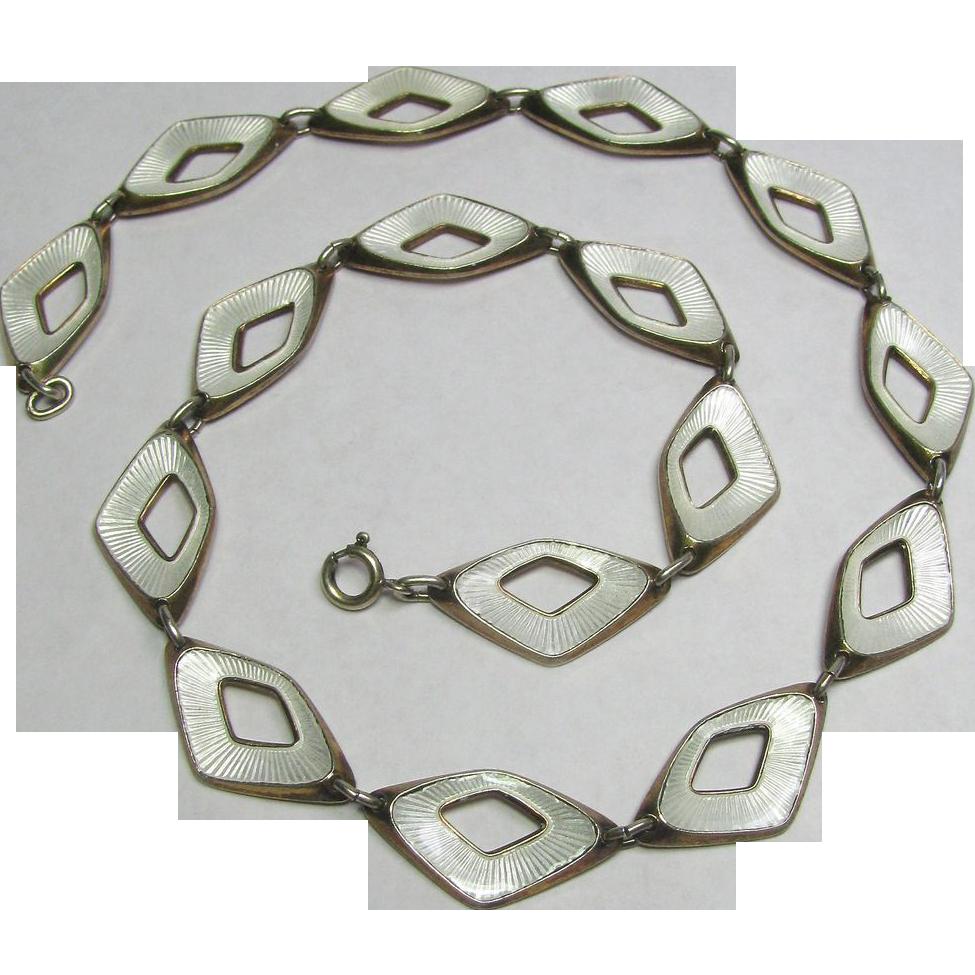 Vintage Retro 1950's Sterling Silver Norway Albert Scharning Enamel Link Necklace
