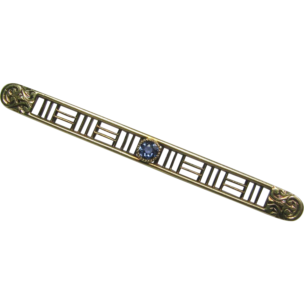 Antique Edwardian 14K Gold Sapphire Bar Brooch Pin
