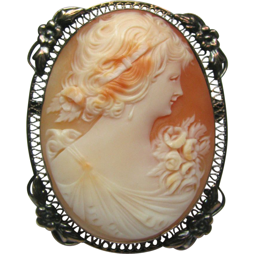 Antique Art Deco Sterling Silver Filigree Shell Cameo Brooch