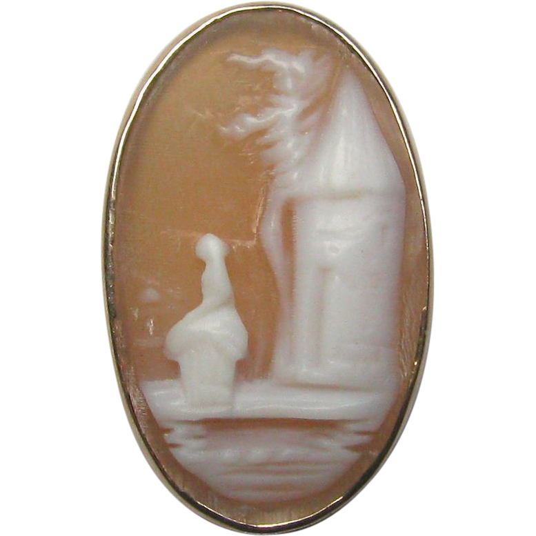 Antique Victorian 10K Gold Rebecca at the Well Cameo Stick Pin