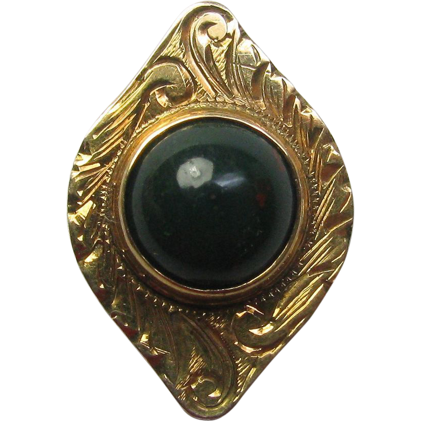 Antique Edwardian 10K Gold Bloodstone Jasper Stick Pin