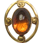 Antique Art Nouveau Alling & Co 14K Gold Citrine Stick Pin