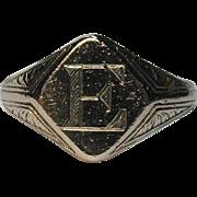 Antique Art Deco 14K White Gold Etched Signet Ring