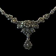 Antique Art Deco Sterling Silver Marcasite Lavaliere Pendant Necklace