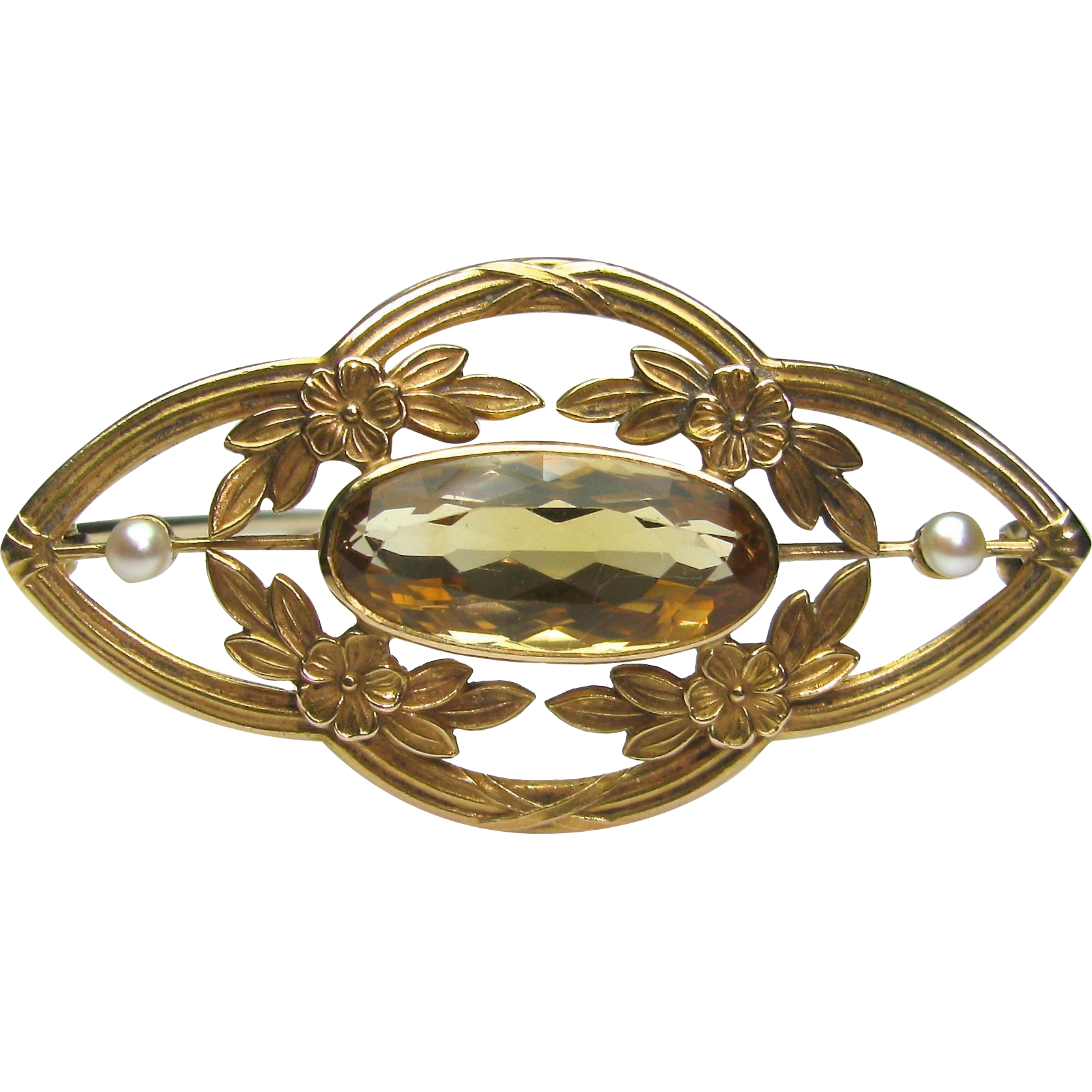 Antique Edwardian 14K Gold Citrine & Seed Pearl Brooch