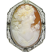 Antique Art Deco 14K Gold Filigree Carved Cameo Brooch/Pin Pendant