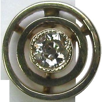 Antique Edwardian 14K Gold Old European Cut Diamond Bullseye Stick Pin