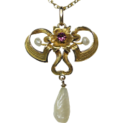 Antique Art Nouveau 10K Gold Pink Tourmaline Lavaliere Pendant