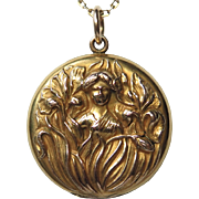 Antique Art Nouveau Gold Rolled Mucha Maiden Locket Pendant w/Photos & Provenance