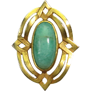 Antique Edwardian 14K Gold Amazonite Stick Pin