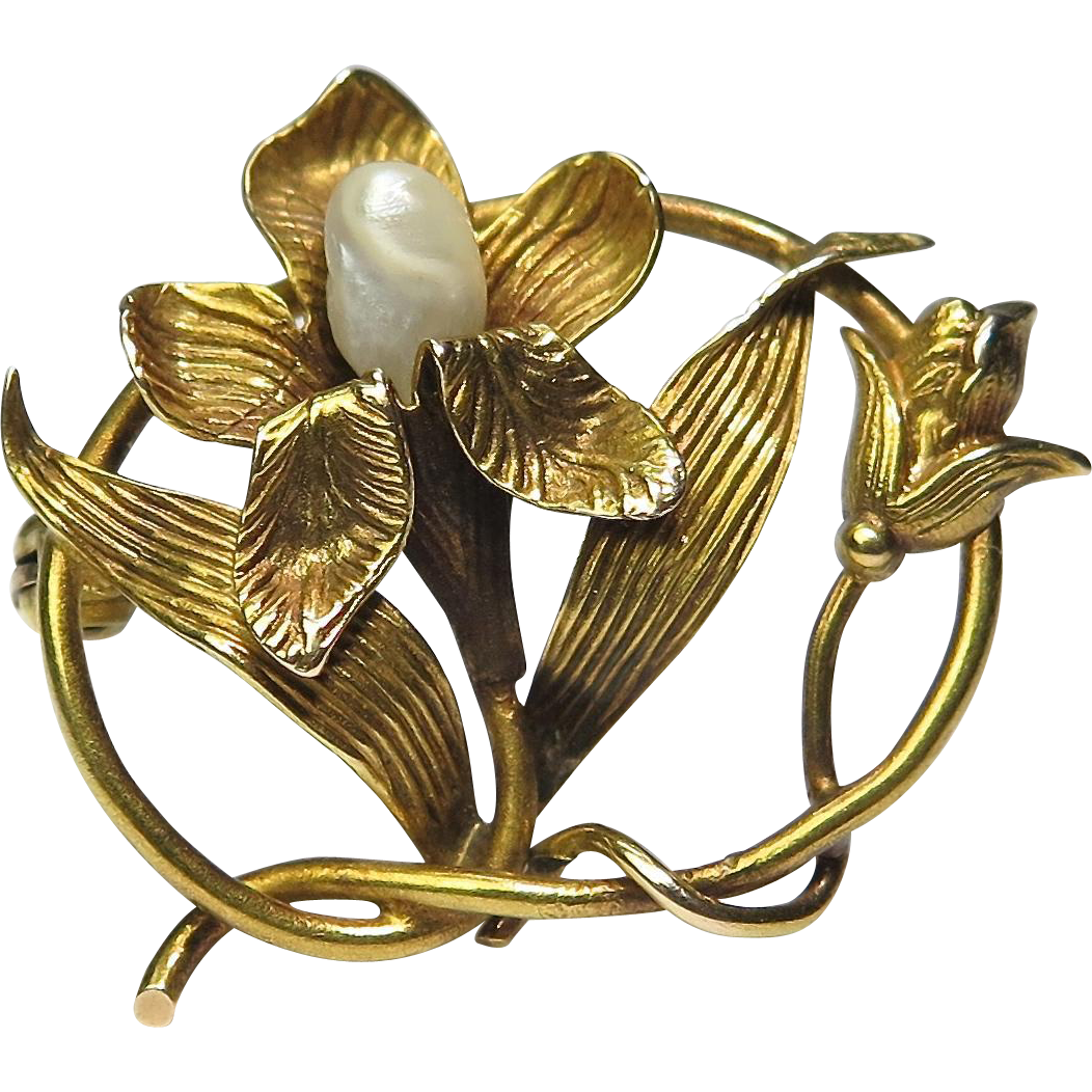 Antique Art Nouveau 10K Gold River Pearl Lily Flower Brooch