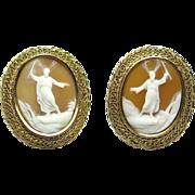 Vintage 14K Gold Trabert & Hoeffer-Maubossin Moses Cameo Earrings
