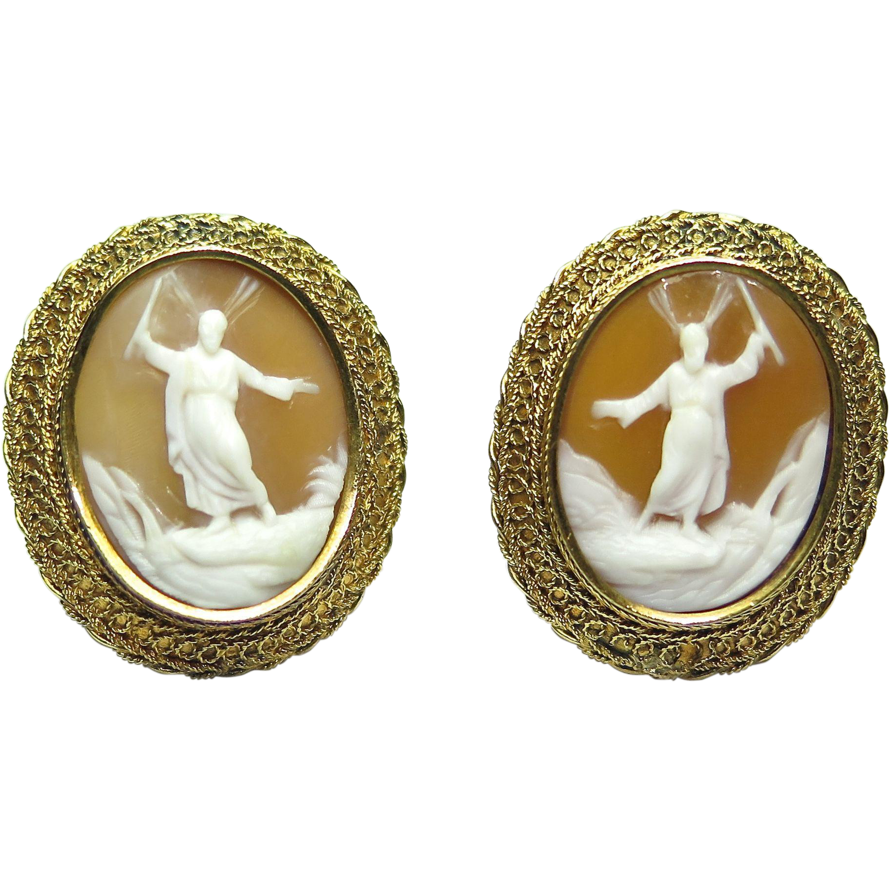 Vintage 14K Gold Trabert & Hoeffer-Maubossin Moses Cameo Earrings