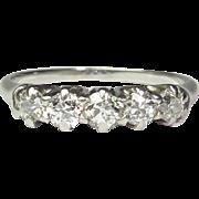 Vintage Art Deco 14K White Gold 5 Diamond Ring Band