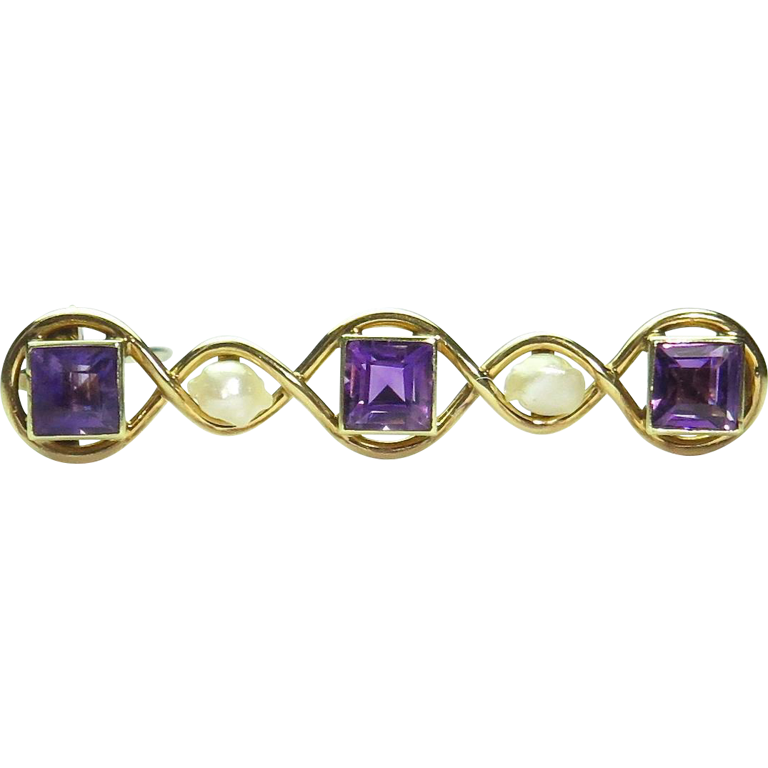 Antique Art Nouveau 14K Gold Amethyst & Seed Pearl Bar Brooch