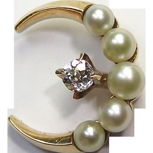 Antique Edwardian 14K Gold Pearl & Diamond Crescent Moon Stick Pin